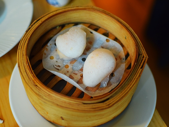 A. Wong: Clear Shrimp Dumpling, Citrus Foam