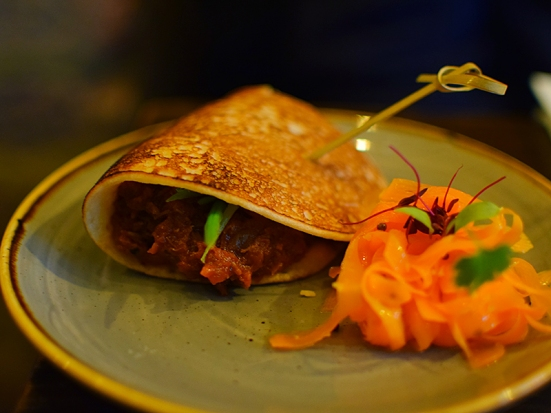Gunpowder: Chettinad Pulled Duck served w. Homemade Oothappam