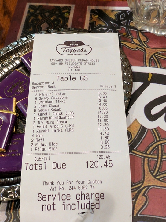 Tayyabs: The bill