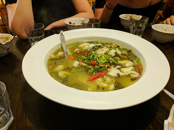 A sourer soup---this served as a nice relief from some of the hotter dishes.