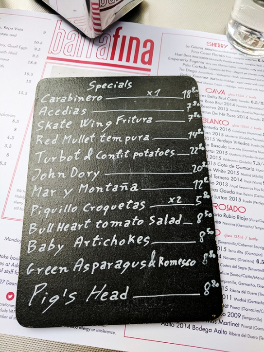 Barrafina, Soho: Specials