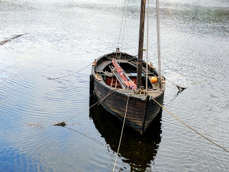 A boat anchored in the loch at Tarbert.