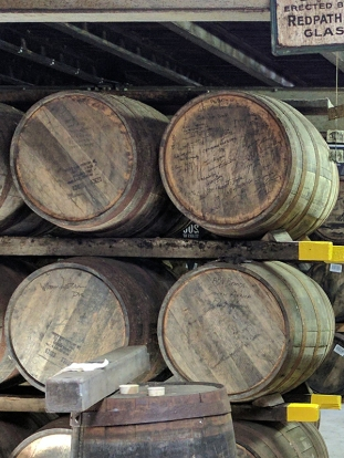 Laphroaig, Distillers' Wares: I failed to zoom in to see what's scrawled on these casks