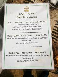 Laphroaig, Distillers' Wares: Cask tasting menu