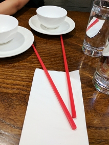 Even the chopsticks are red.