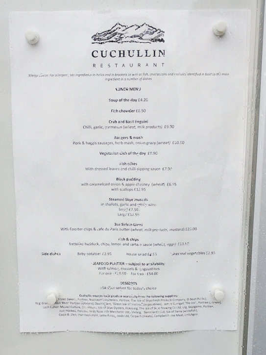 Cuchullin: Lunch menu
