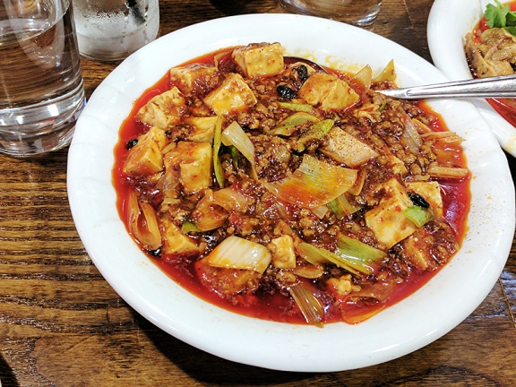 """On the menu as """"""""Pockmarked old woman's tofu with minced pork"""" and very good by any name."""