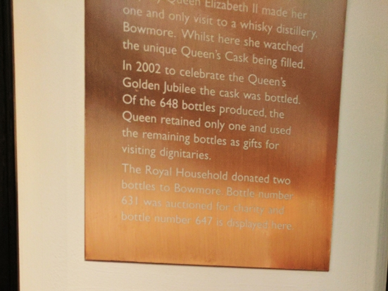 Though cut off at the top, this describes a cask filled for the Queen's visit in 1980 and bottled for her golden jubilee in 2002.
