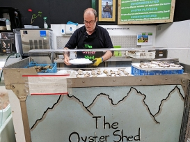 The Oyster Shed: The gent who shucks them