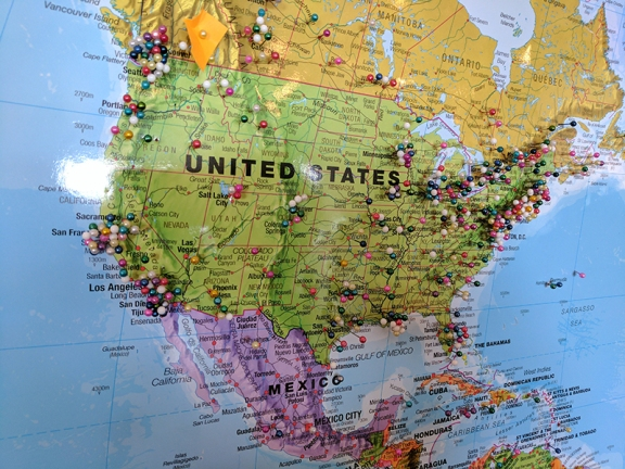 You sign a book saying where you're from and they stick pins into a world map. More people seem to have visited them from Minnesota than from India.