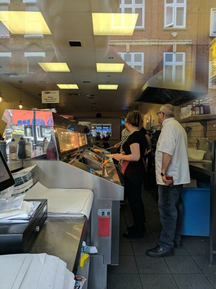 The Laughing Halibut: Behind the counter