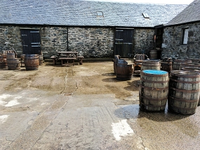 Kilchoman: Casks in a courtyard