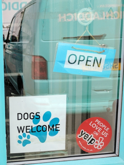 "I love that dogs are welcome...but I'm not sure that anyone cares that people like Bruichladdich on Yelp. Maybe it's a ""dogs yelp"" joke?"