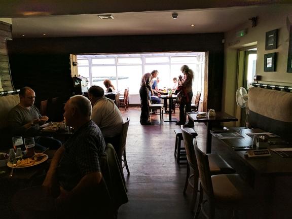 The dining room looks dark till your eyes adjust.