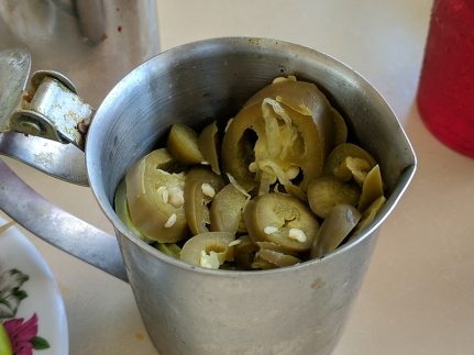 There are also these tangy sliced jalapenos soaked in vinegar.
