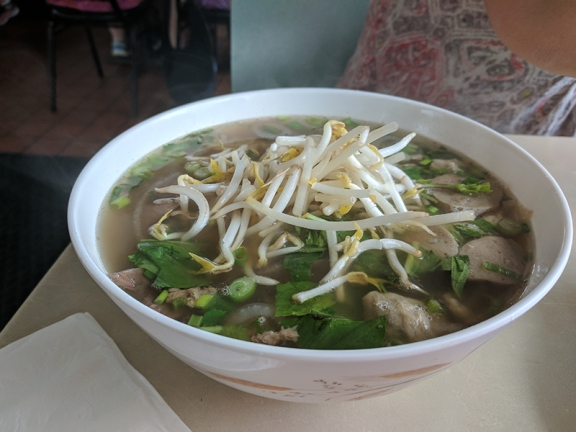 Pho with beef and meatballs.