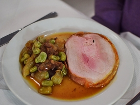 St. John: Roast middle white, broad beans and trotter
