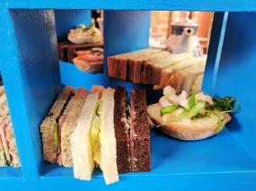 Ham with tomato chutney and rocket (okay); Egg mayonnaise with cucumber (good); Salt beef with horseradish and watercress (okay)