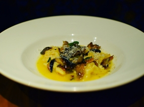 Alma: Mortadella Agnolotti seasonal mushrooms, parmigiano, sage butter