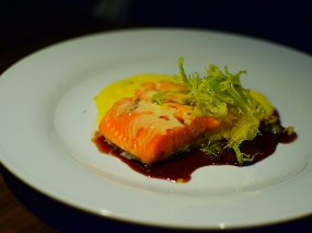 Alma: Gently Cooked Arctic Char potatoes two ways, black truffle hollandaise, red wine jus