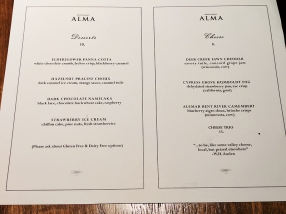 Alma: Desserts and cheeses