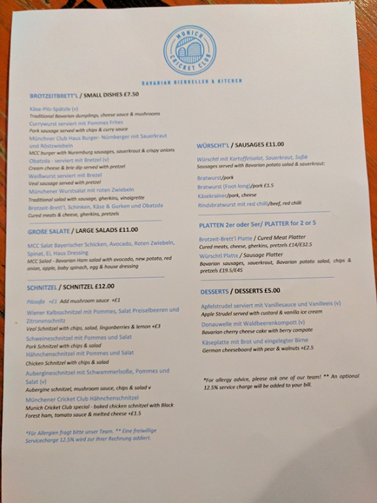 Munich Cricket Club: Menu