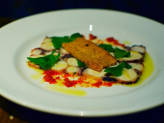 Alma: Octopus Terrine ginger-tomato jam, lemon zest, focaccia crouton