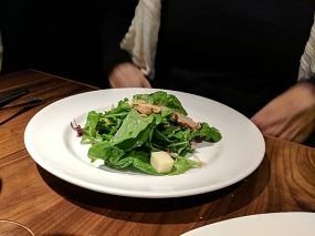 Alma: Arugula Salad poached pears, young manchego, almonds, cider vinaigrette