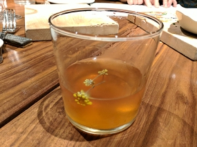 One member of the party elected to start with a sazerac, which he quite liked. Not sure what the shrubbery atop it is: fennel pollen?