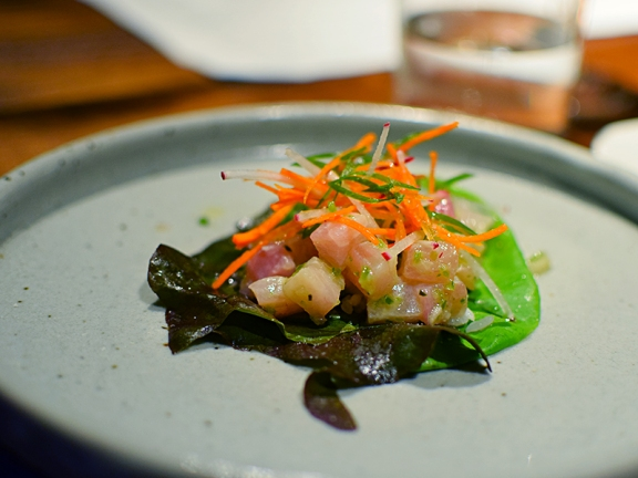 Alma: Yellowtail Tartare aromatic lime dressing, heirloom lettuce, sweet rice