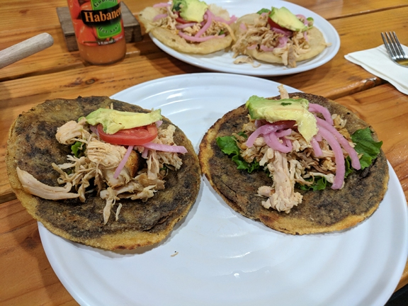 Tortillas stuffed with black bean puree, fried and topped with shredded turkey, pickled onions and avocado. Very good.