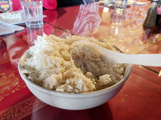 They gave us all the accompanying rice together in one bowl.