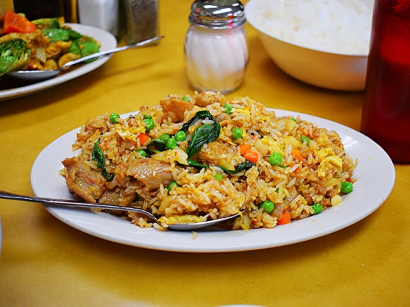 Pahok ktiss sauce is a staple of Khmer food. It made this fried rice a little greasy but it also made it very tasty.