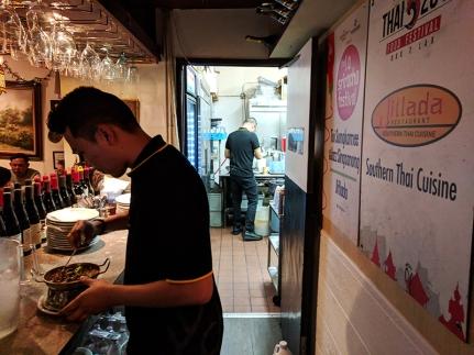 Jitlada: The bar through to the tiny kitchen
