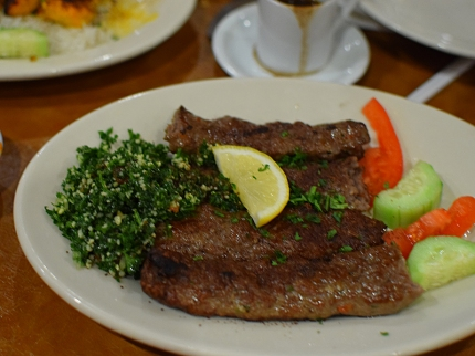A weekend special, this was like a good, mildly-spiced north Indian seekh kabab. Served with tabouli and veg.