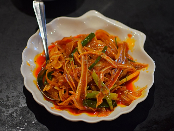Let's start with the most recent meal. These strips of crunchy, cartilagey pork ears in chilli oil are always a treat.