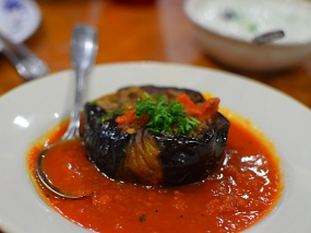 More eggplant that I did not eat. This is stuffed with ground beef and some of those who ate it said it was the best thing on the table.