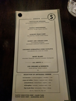 Spoon and Stable: Dessert menu