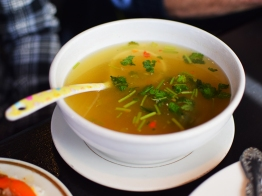 You have to eat it with this tangy, slightly spicy broth.
