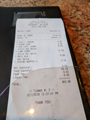 The bill for the second lunch.