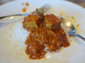 The fish in the curry is tuna---the use of tuna also separates Sri Lankan cooking from South Indian cooking,