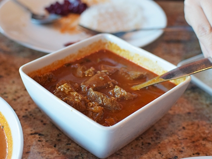 But the lamb (which was probably goat) curry was even hotter and even better.