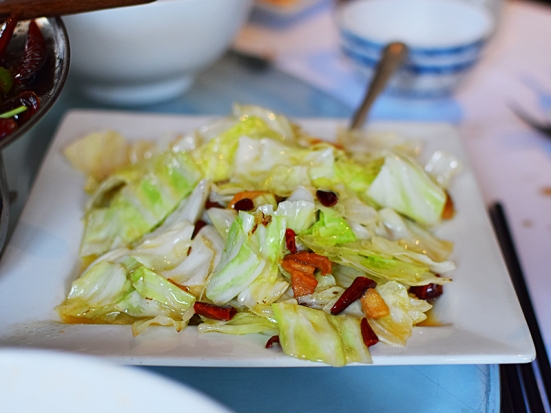 Tea House: Cabbage with crispy bacon