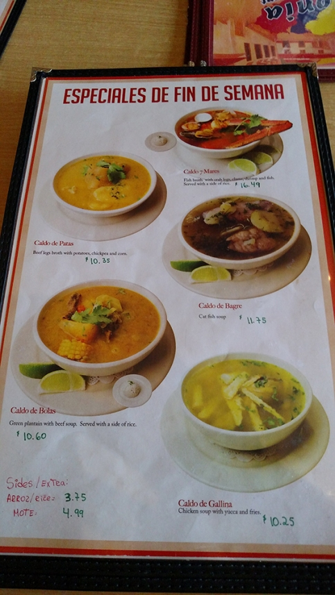 These are the weekend special soups/stews.