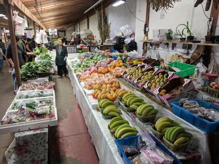 Behind the outdoor plants section is an entrance to the indoor green market where you can buy lots of fruit and veg.