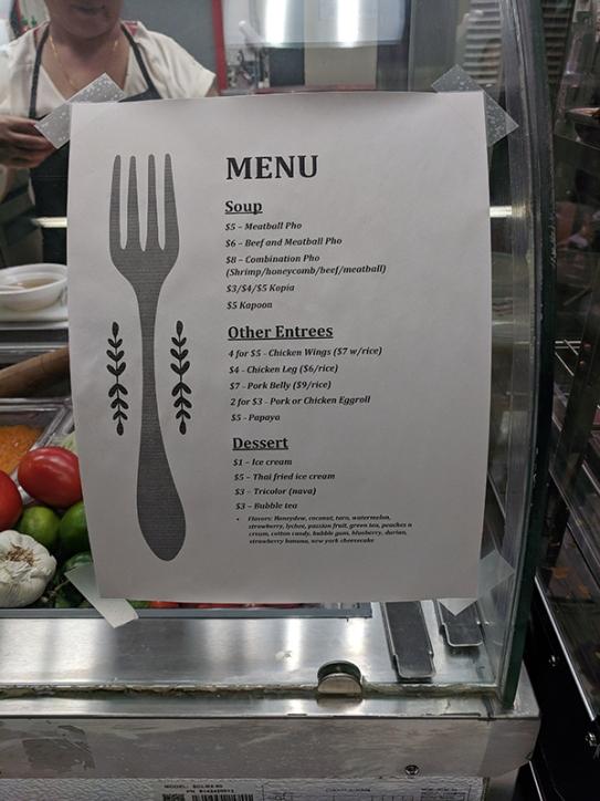 Hmongtown Marketplace: Their menu