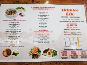 Simplee Pho: Vietnamese menu