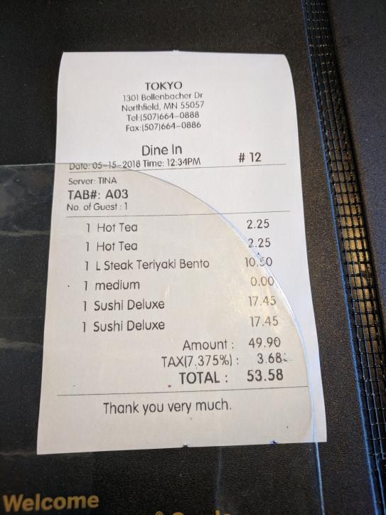 Tokyo Grill: Bill