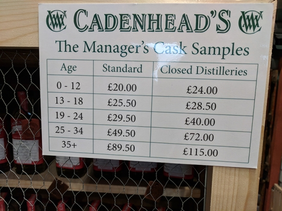 Cadenhead's Edinburgh: Manager's Cask Samples