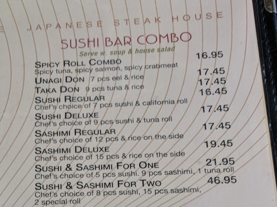Tokyo Grill: Sushi combos
